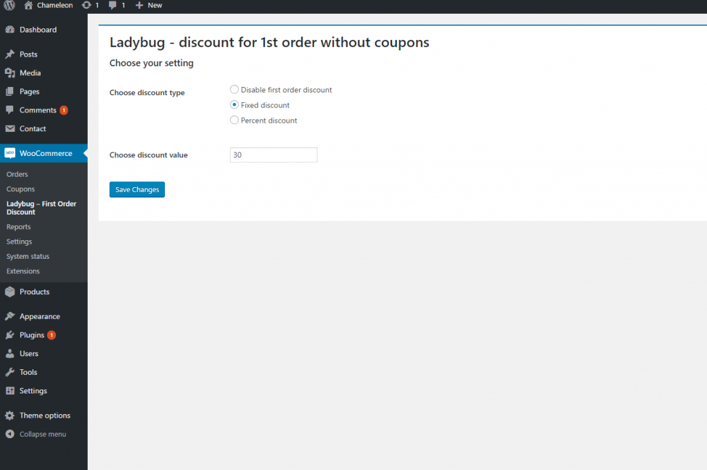 Settings for choosing discount type