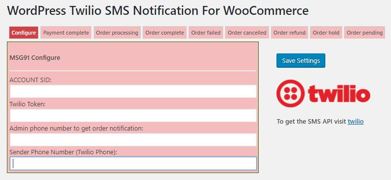 sender phone number option