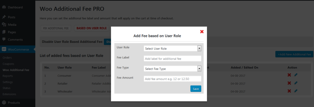 add fee based on user role