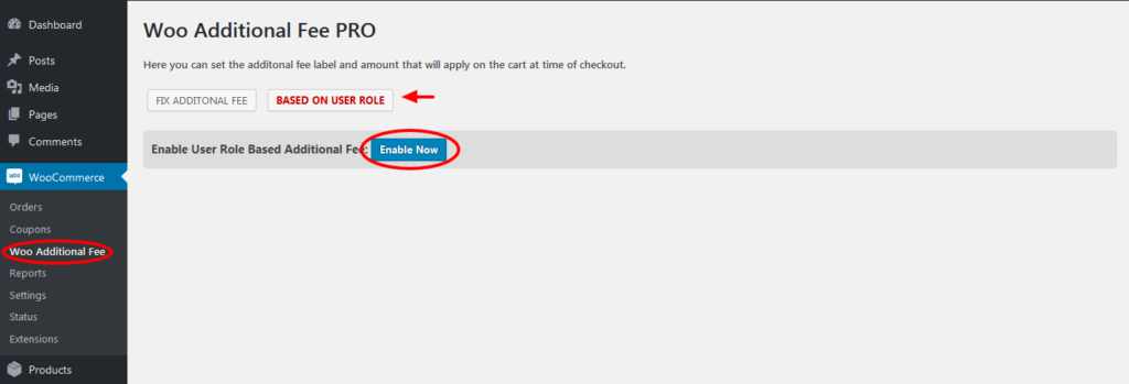 enable user role based additional fees