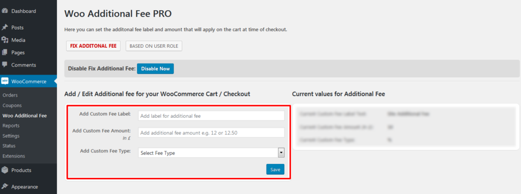 add and edit additional fees