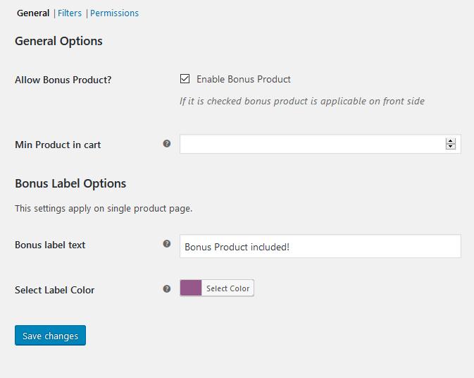 general options of bonus product