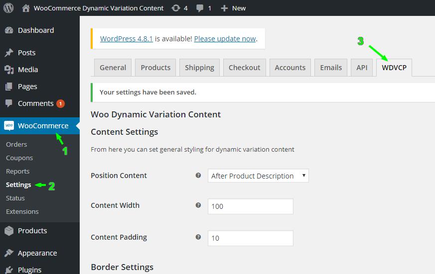settings of the plugin