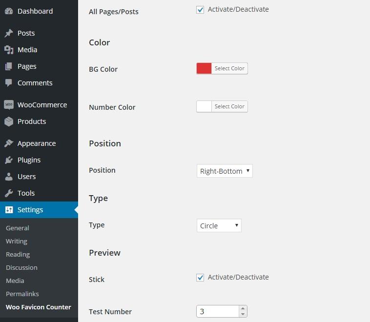 settings menu for the colour etc.