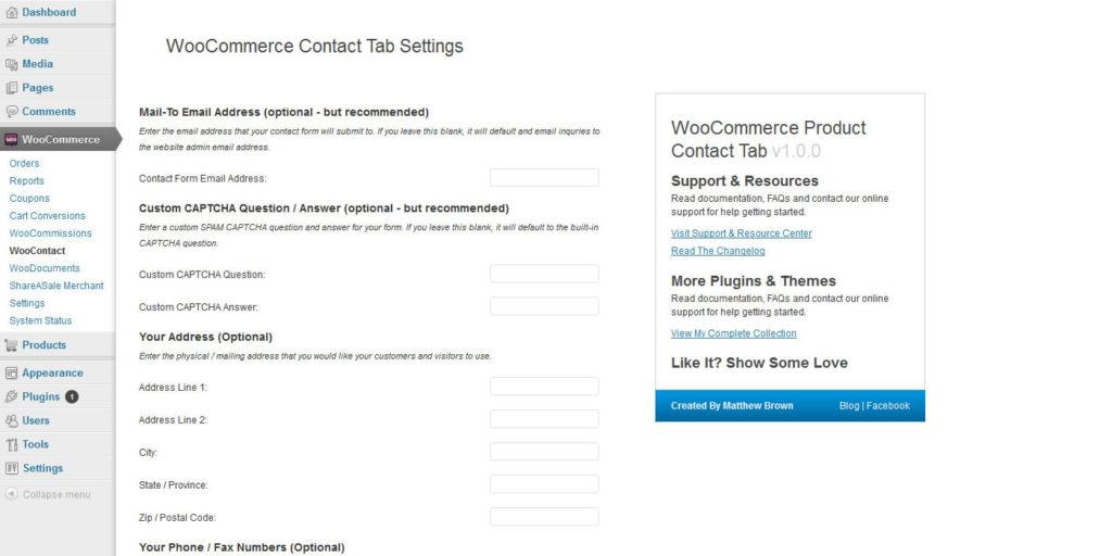 contact tab settings