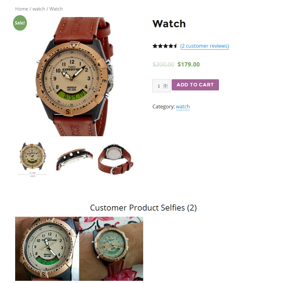 how the pictures are seen in the product page