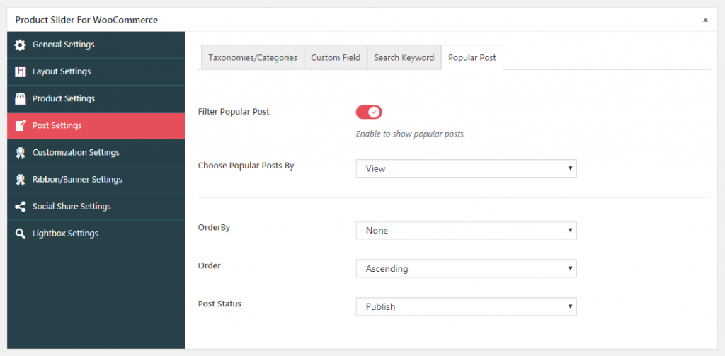 Popular post tab in post settings