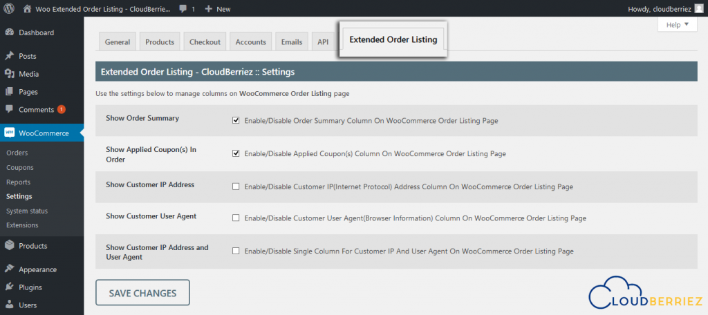 Extended order listing tab
