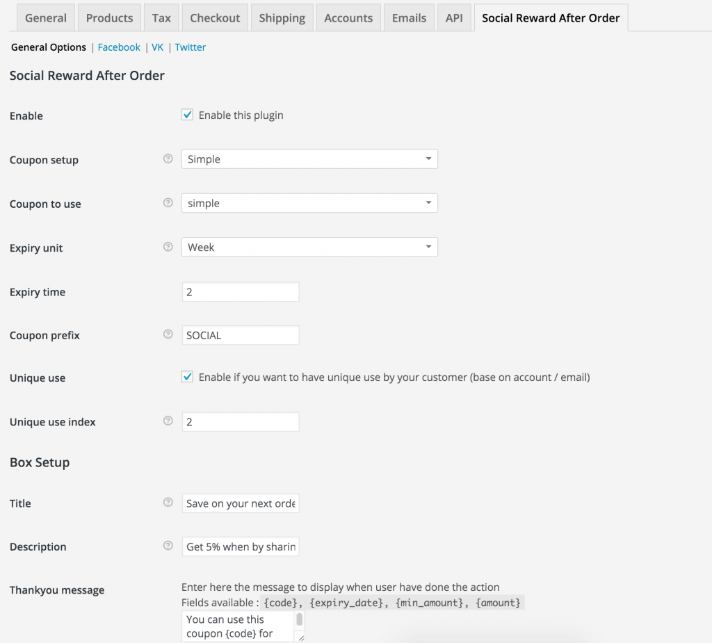 social reward after order option in the admin panel