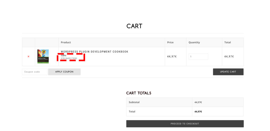 Allow your users to see ISBN in their Carts