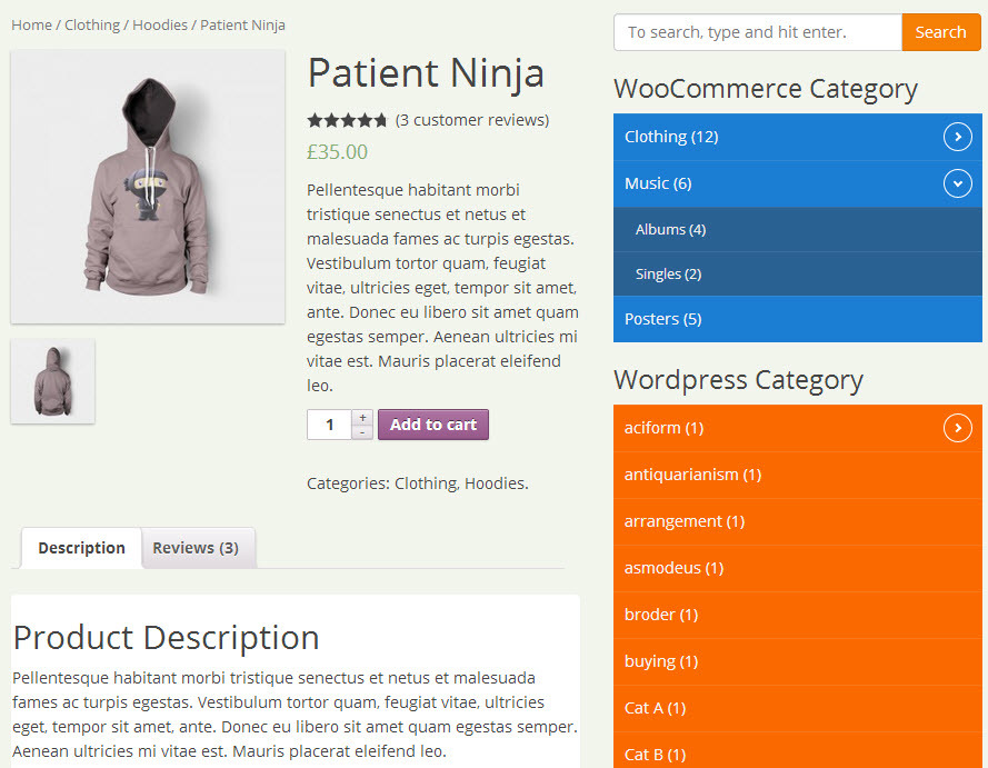 categories shown in the product page on frontend