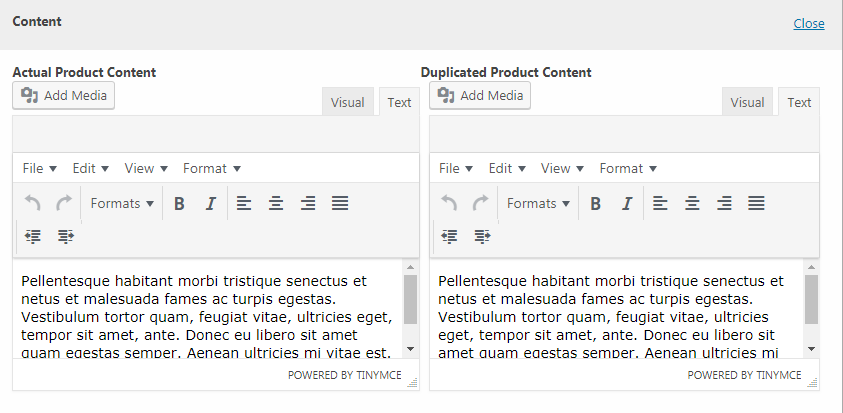 Text content customisation preview