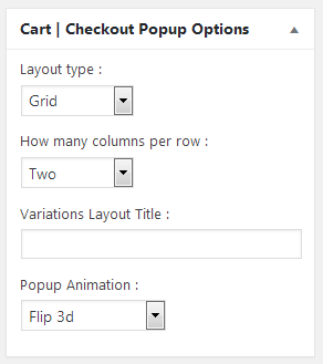 checkout popup options