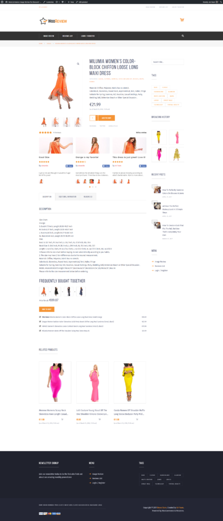 product page with reviews with images