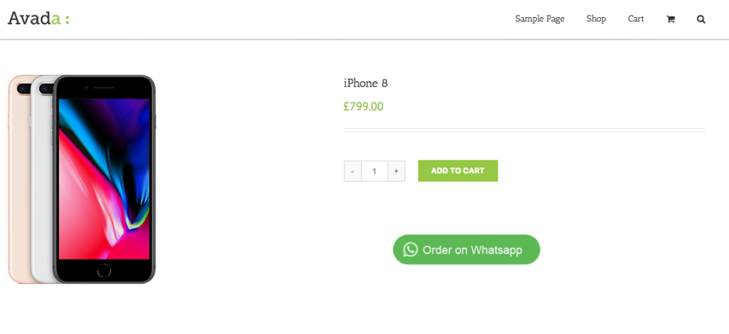 order on WhatsApp button on the products page