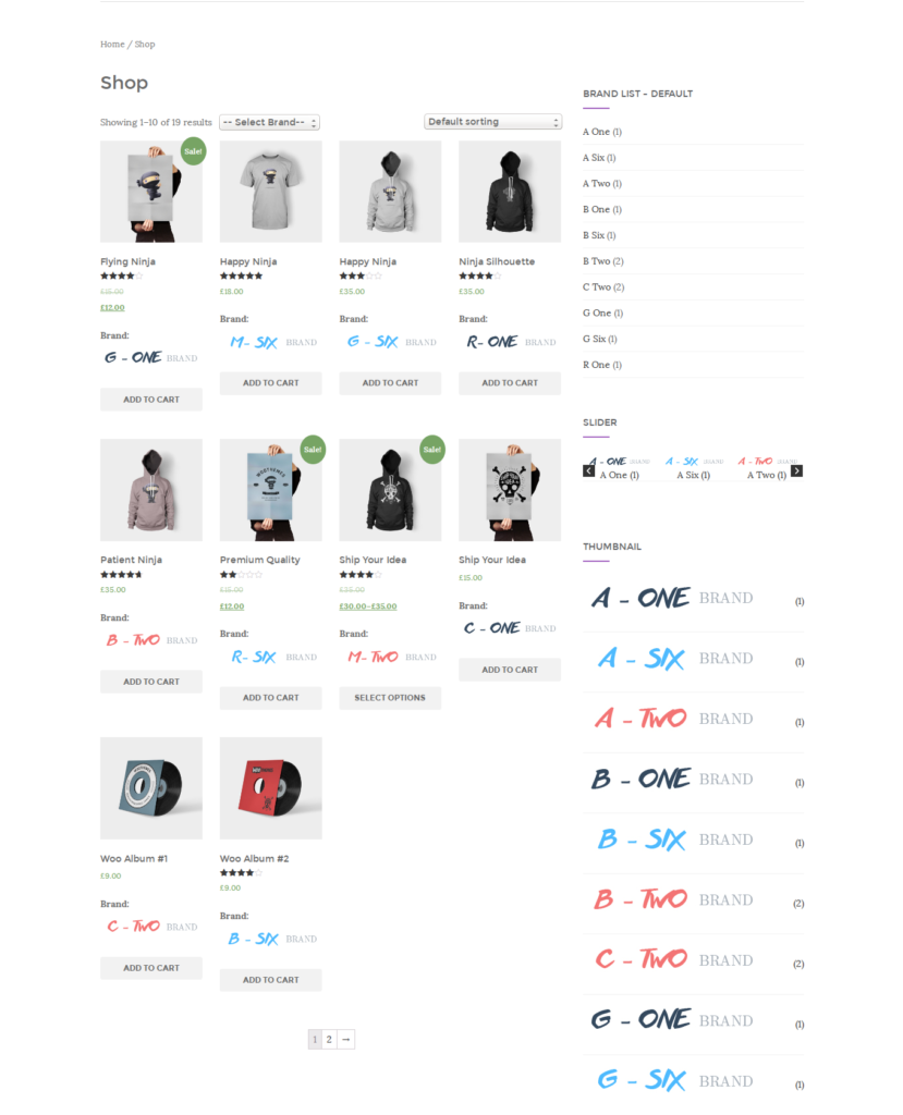 brands list in the products page