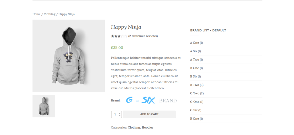 brand list in the product page