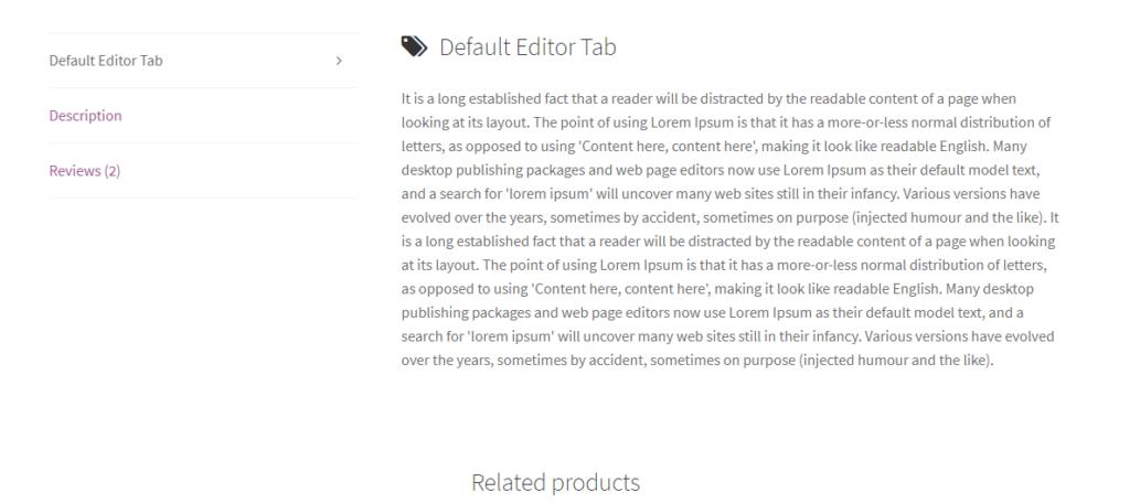 default editor tab frontend