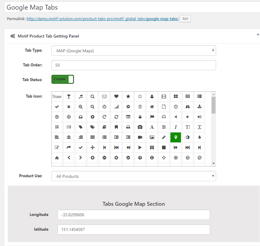 google maps tabs backend