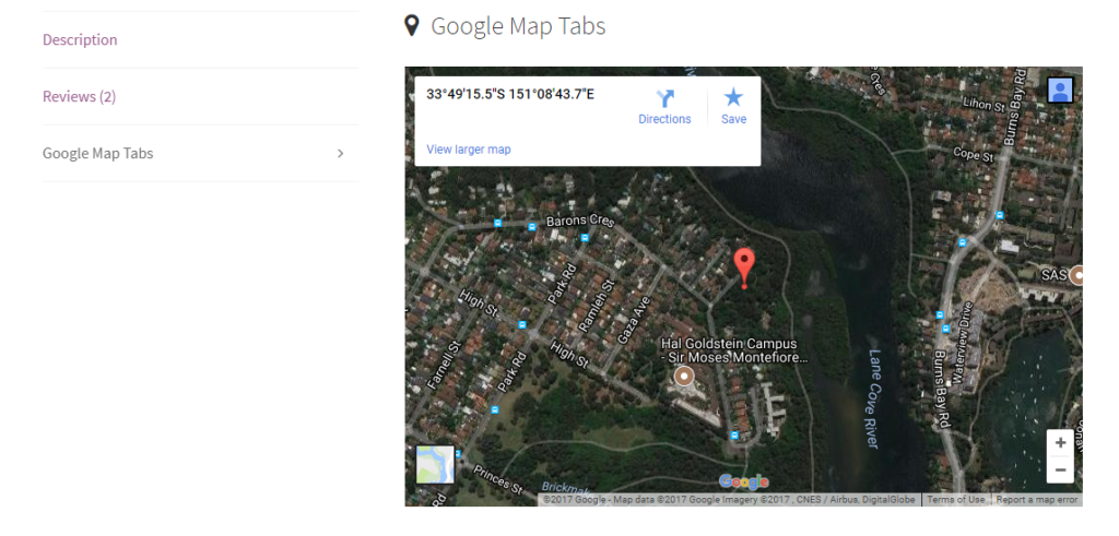 google maps tabs frontend