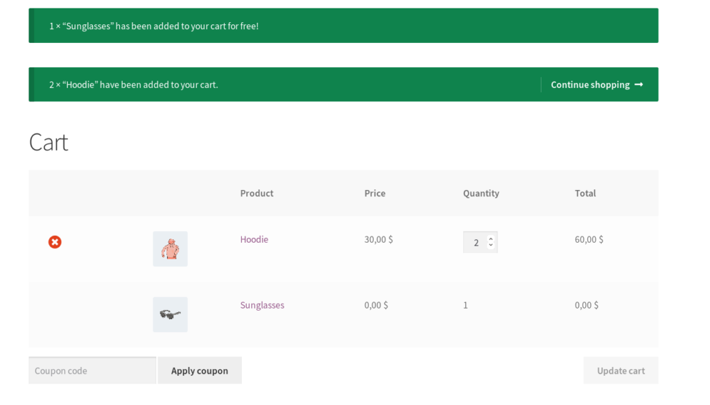 Plugin Cart Front End View