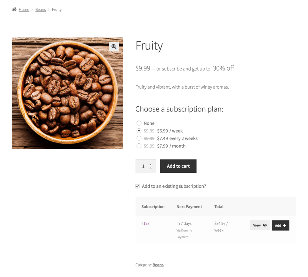 how subscription plans are shown on the product page