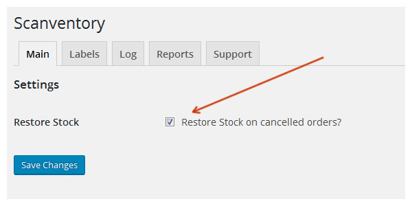 restore stock on cancelled orders