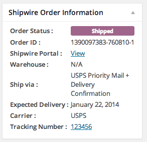 Shipwire order information