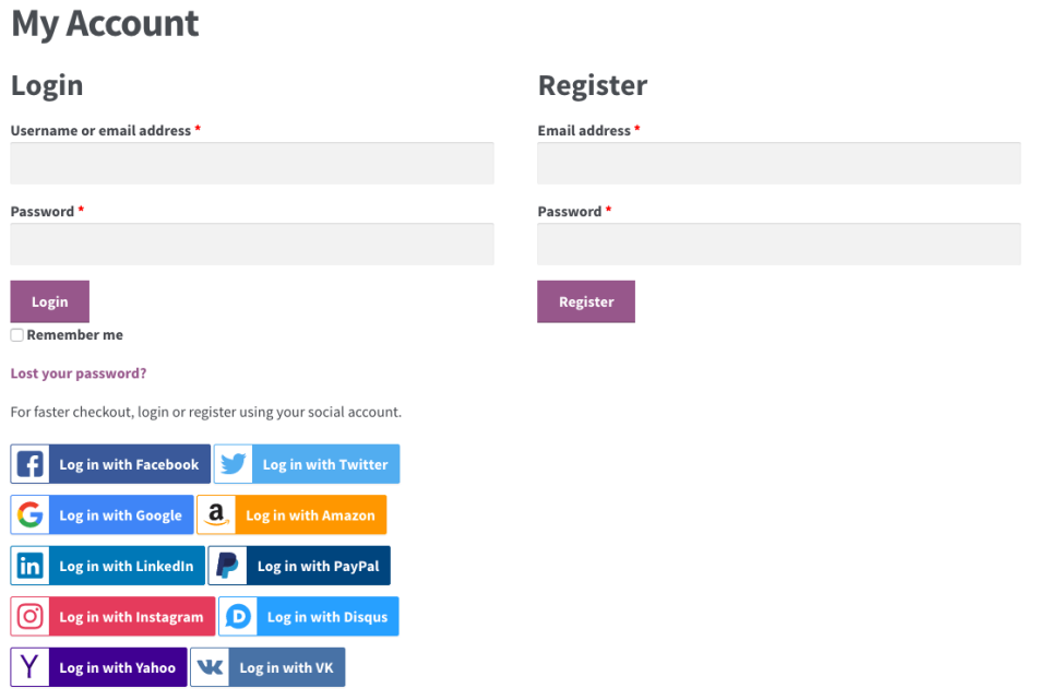 options of social login during login page