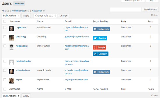 users list including social profiles