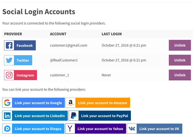 link or unlink login accounts