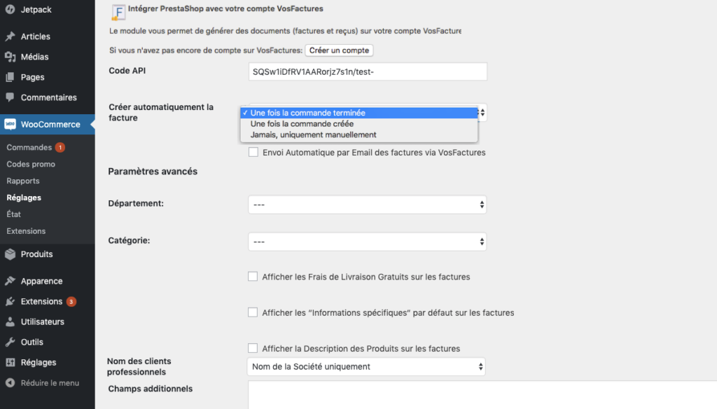 Extension settings for invoices creation  in French
