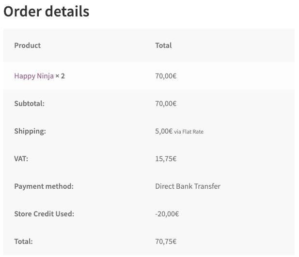 Store Credit Plugin - Order Details