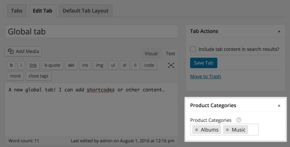 Per-Category Global Tabs