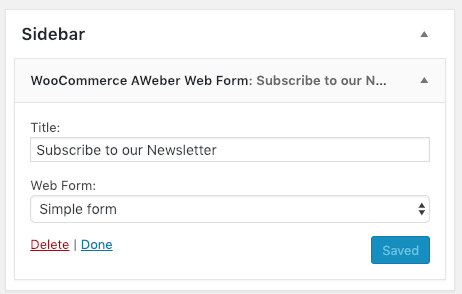 Add an AWeber Web Form to the sidebar