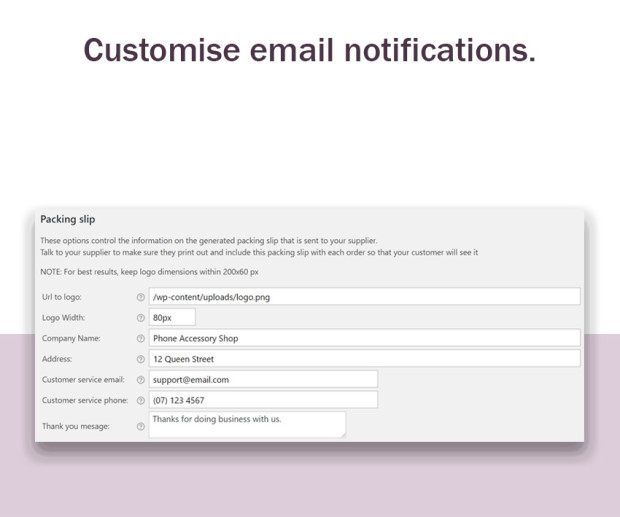 Customise email notifications