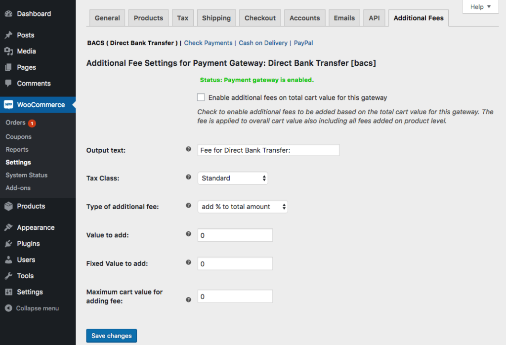 Additional Fee Settings for Payment Gateway