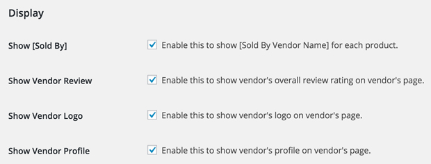 Selectively show vendor information