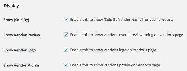 Selectively show vendor information
