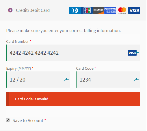 In-browser card validation