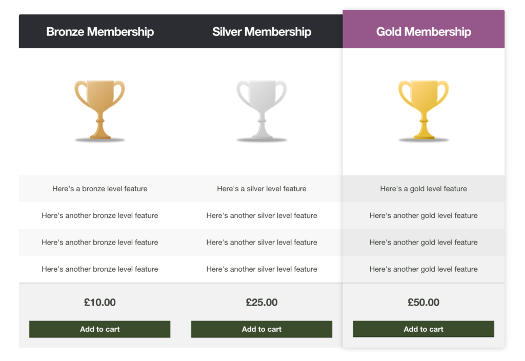 Pricing Table Example