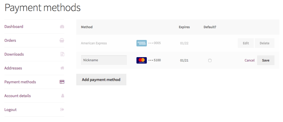 Saved payment methods